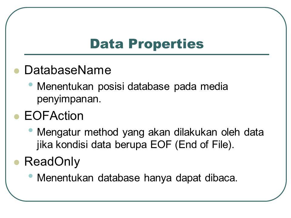 Data Properties DatabaseName EOFAction ReadOnly