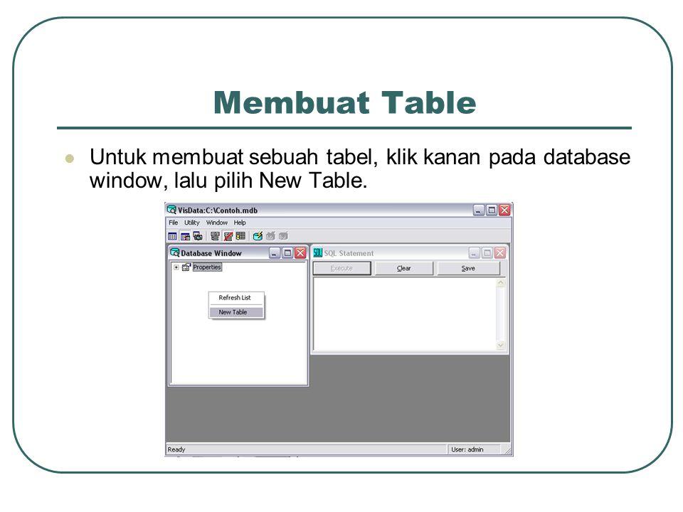 Membuat Table Untuk membuat sebuah tabel, klik kanan pada database window, lalu pilih New Table.