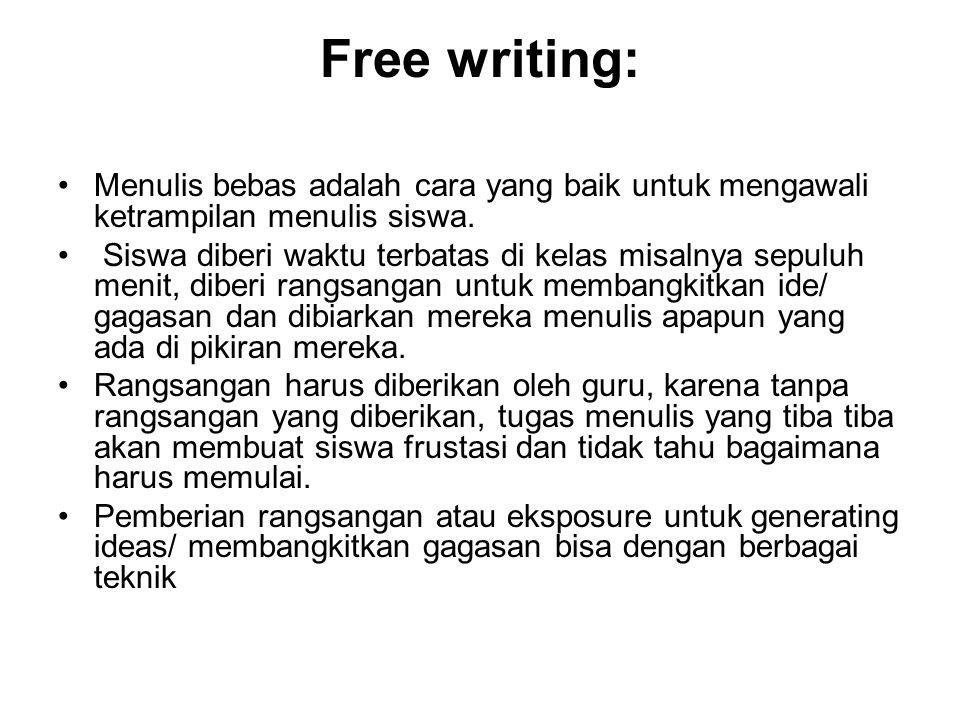 Free writing: Menulis bebas adalah cara yang baik untuk mengawali ketrampilan menulis siswa.