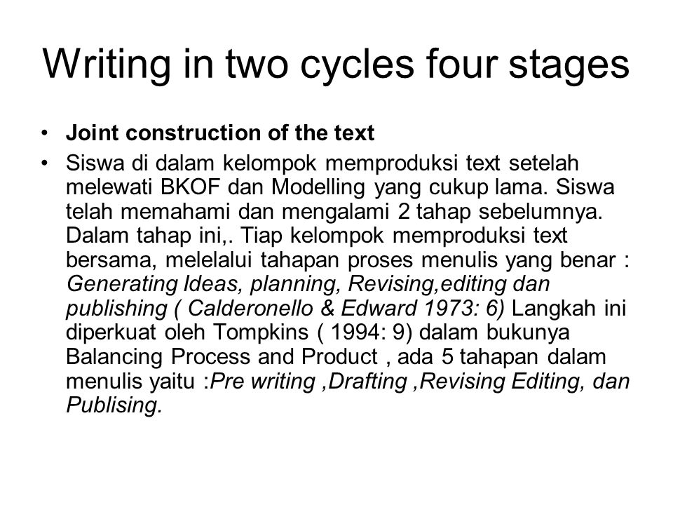 Writing in two cycles four stages