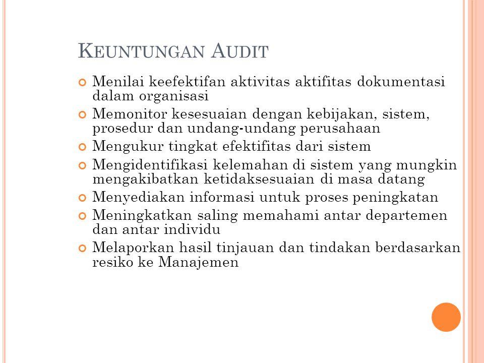 Keuntungan Audit Menilai keefektifan aktivitas aktifitas dokumentasi dalam organisasi.
