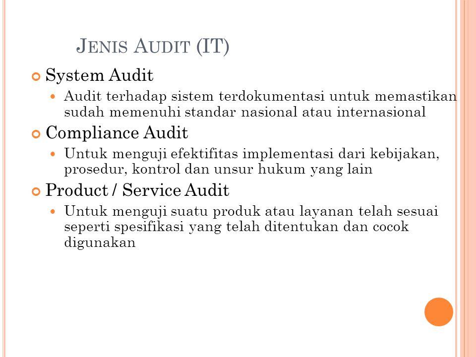Jenis Audit (IT) System Audit Compliance Audit Product / Service Audit