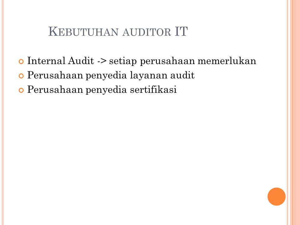 Kebutuhan auditor IT Internal Audit -> setiap perusahaan memerlukan