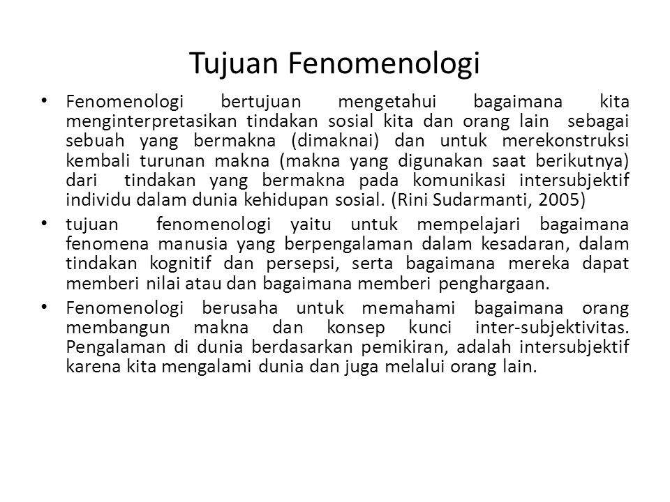 Tujuan Fenomenologi
