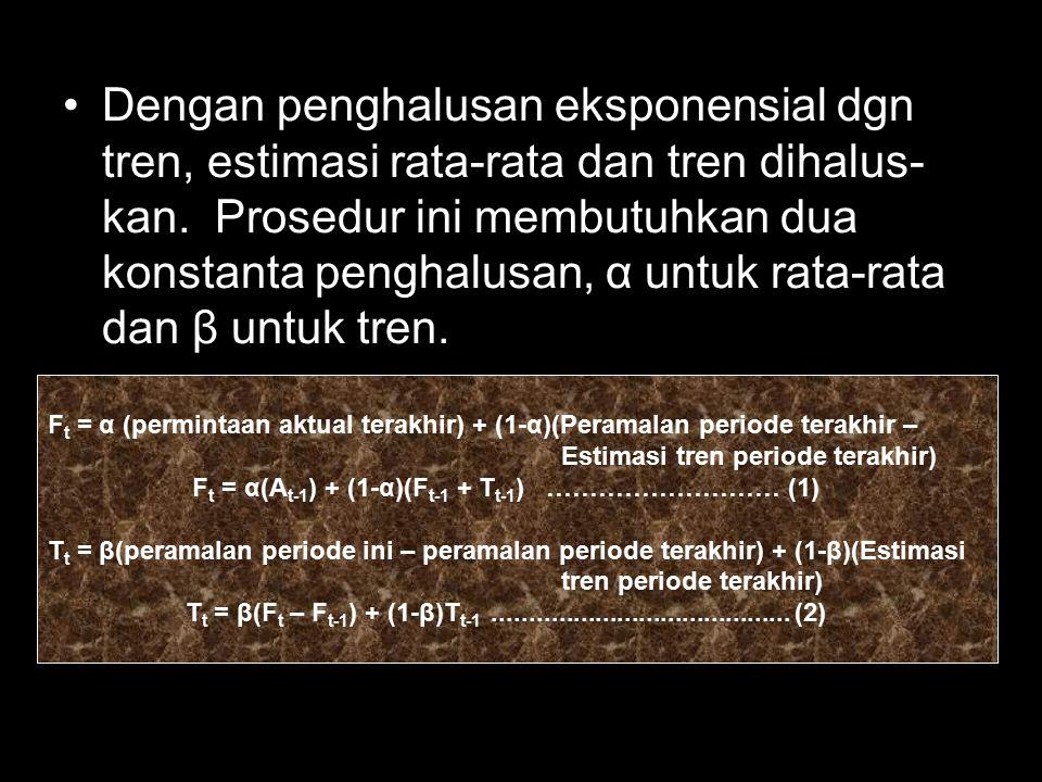 Dengan penghalusan eksponensial dgn tren, estimasi rata-rata dan tren dihalus-kan. Prosedur ini membutuhkan dua konstanta penghalusan, α untuk rata-rata dan β untuk tren.