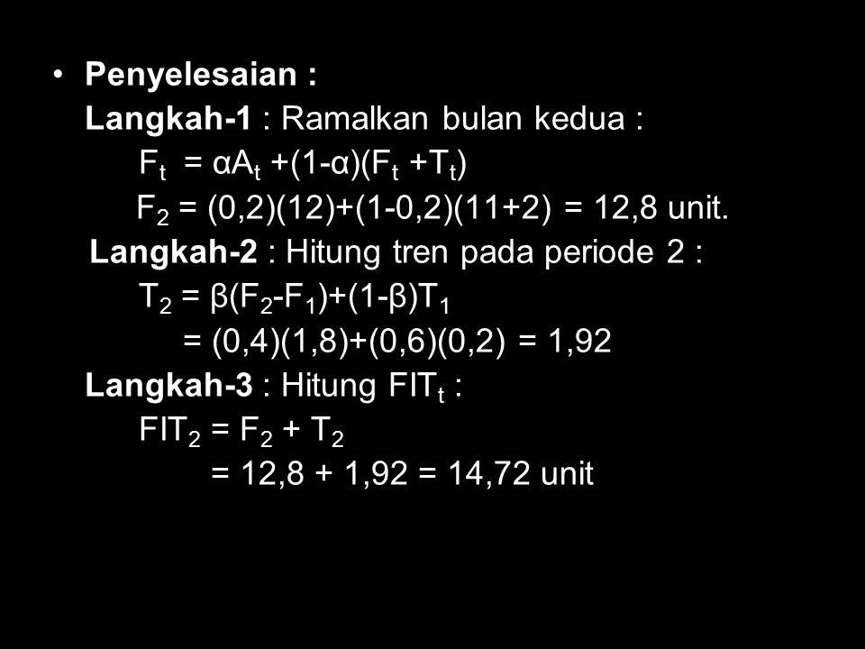 Penyelesaian : Langkah-1 : Ramalkan bulan kedua : Ft = αAt +(1-α)(Ft +Tt) F2 = (0,2)(12)+(1-0,2)(11+2) = 12,8 unit.