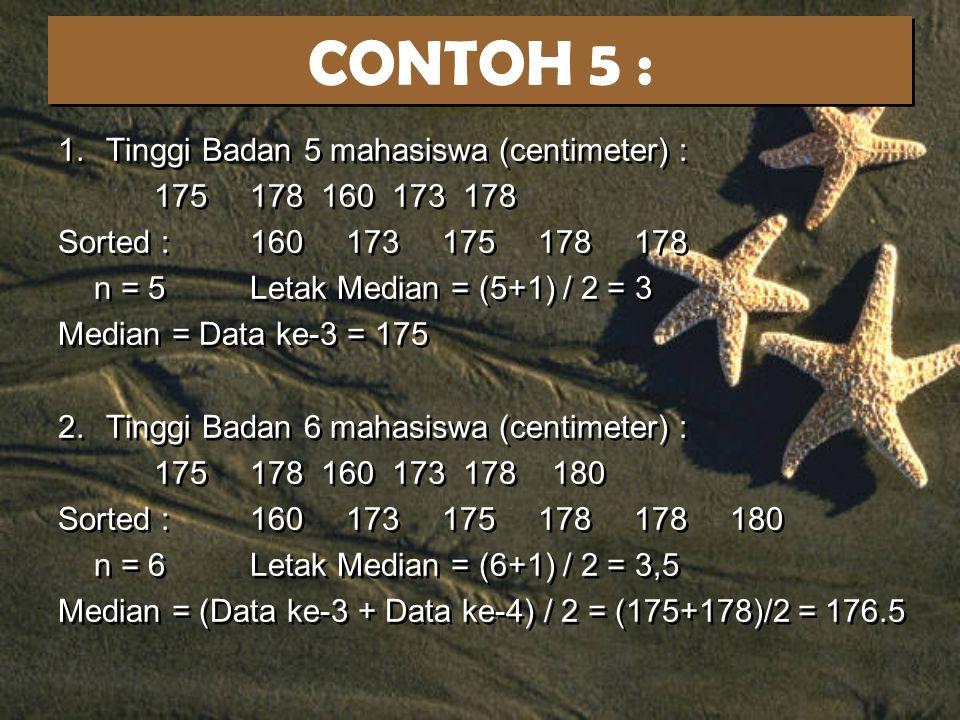 CONTOH 5 : Tinggi Badan 5 mahasiswa (centimeter) : 175 178 160 173 178