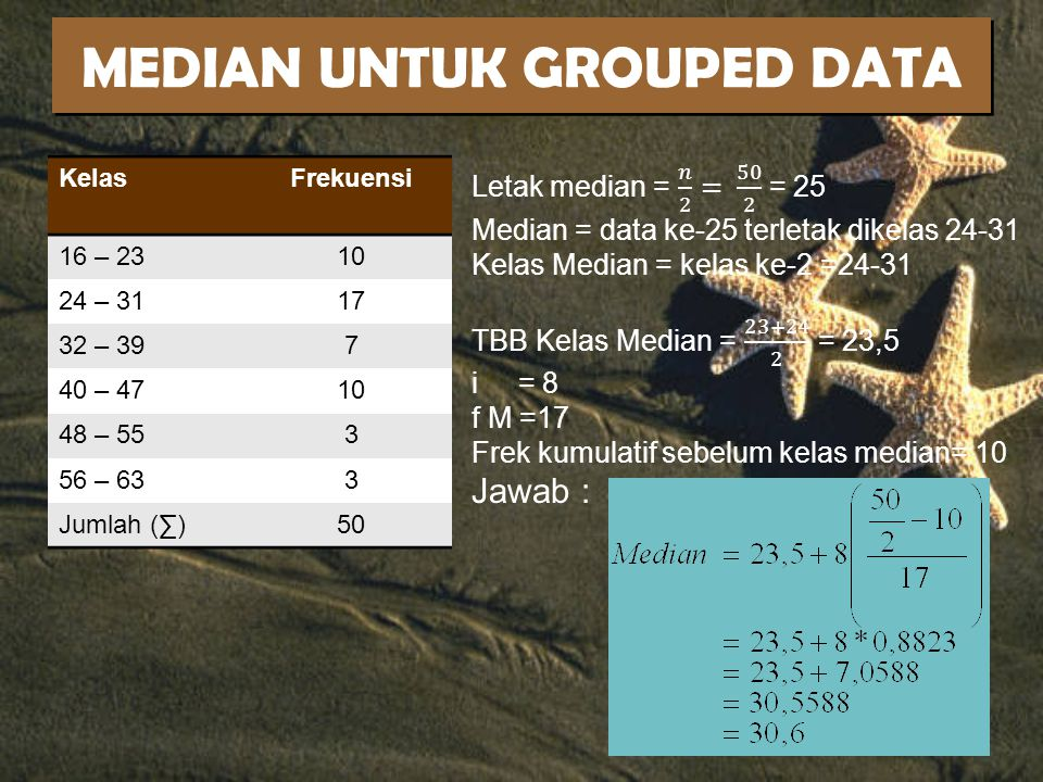 MEDIAN UNTUK GROUPED DATA
