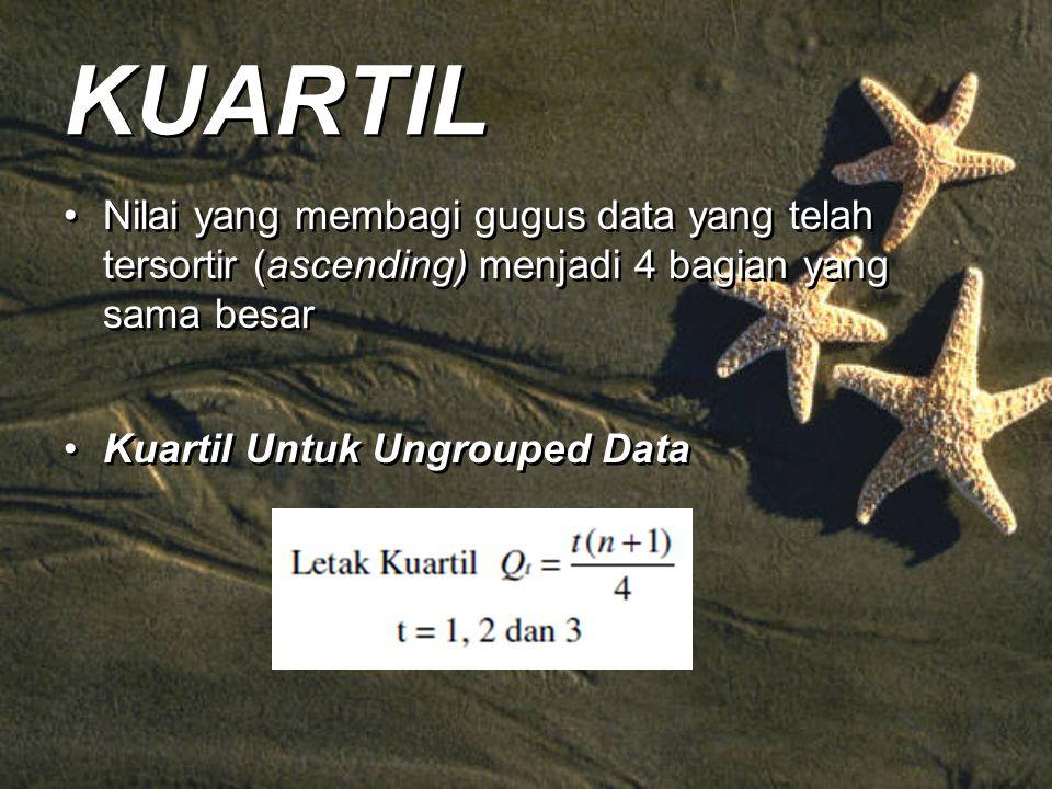 KUARTIL Nilai yang membagi gugus data yang telah tersortir (ascending) menjadi 4 bagian yang sama besar.