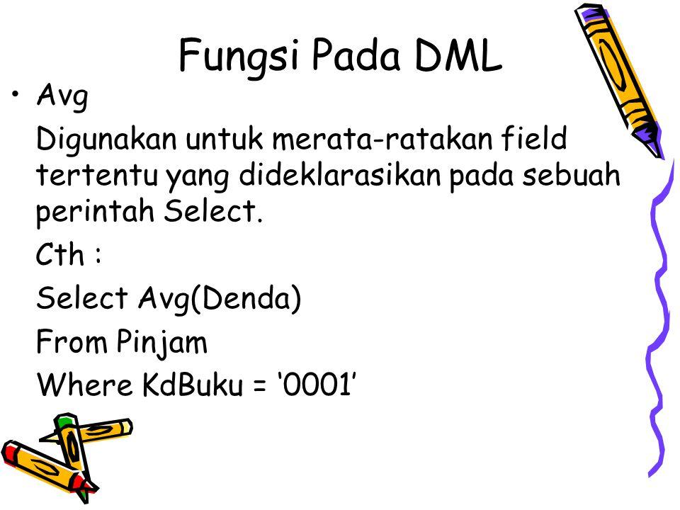Fungsi Pada DML Avg. Digunakan untuk merata-ratakan field tertentu yang dideklarasikan pada sebuah perintah Select.