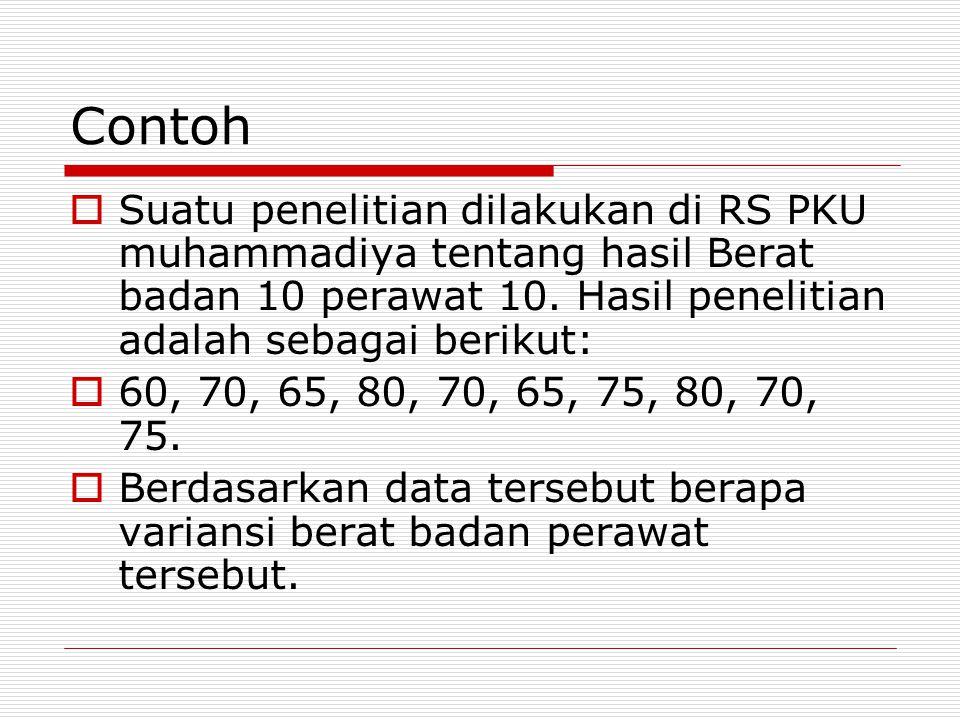 Contoh Suatu penelitian dilakukan di RS PKU muhammadiya tentang hasil Berat badan 10 perawat 10. Hasil penelitian adalah sebagai berikut:
