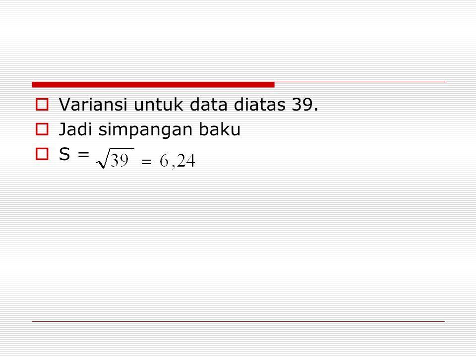 Variansi untuk data diatas 39.
