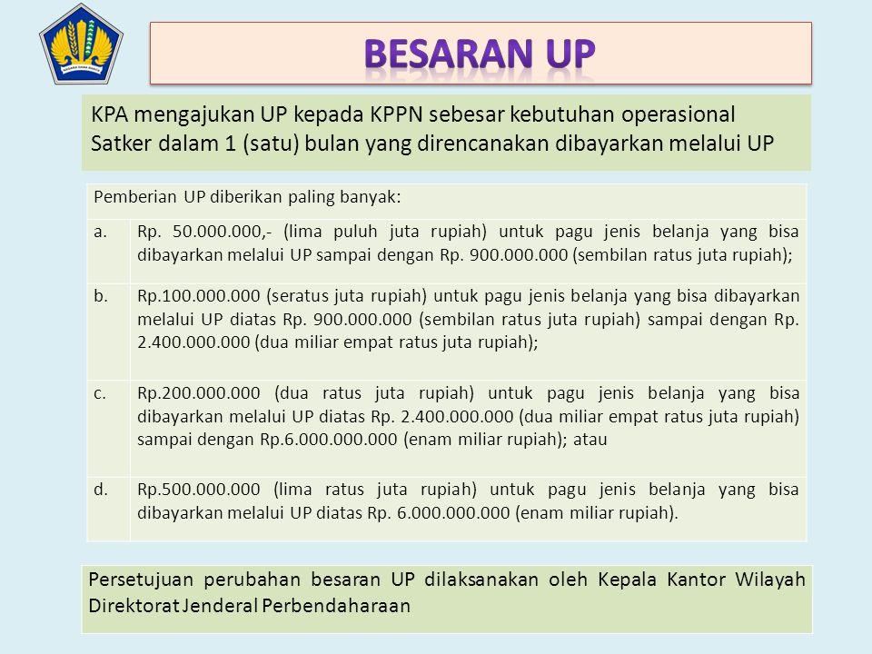 Besaran UP KPA mengajukan UP kepada KPPN sebesar kebutuhan operasional Satker dalam 1 (satu) bulan yang direncanakan dibayarkan melalui UP.