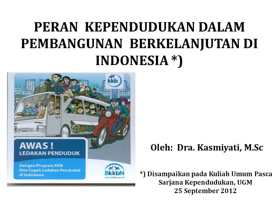 PERAN KEPENDUDUKAN DALAM PEMBANGUNAN BERKELANJUTAN DI INDONESIA *)