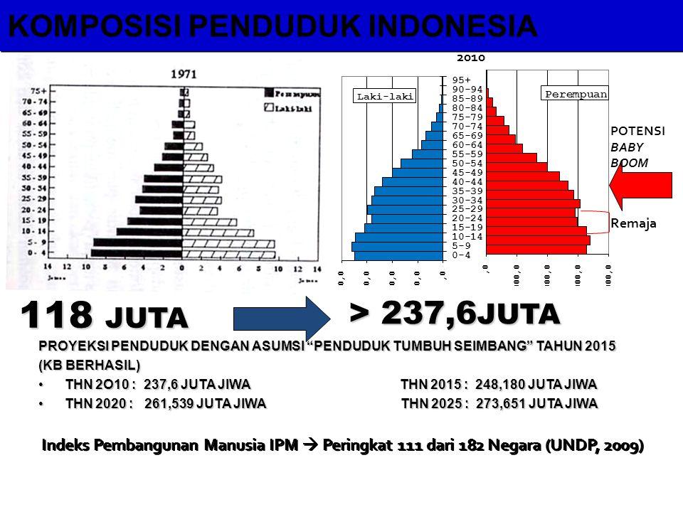 118 JUTA > 237,6JUTA KOMPOSISI PENDUDUK INDONESIA