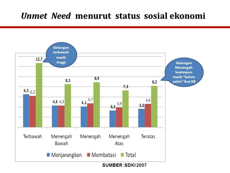 Unmet Need menurut status sosial ekonomi