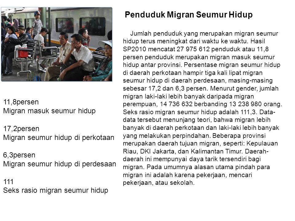 Migran masuk seumur hidup 17,2persen Migran seumur hidup di perkotaan