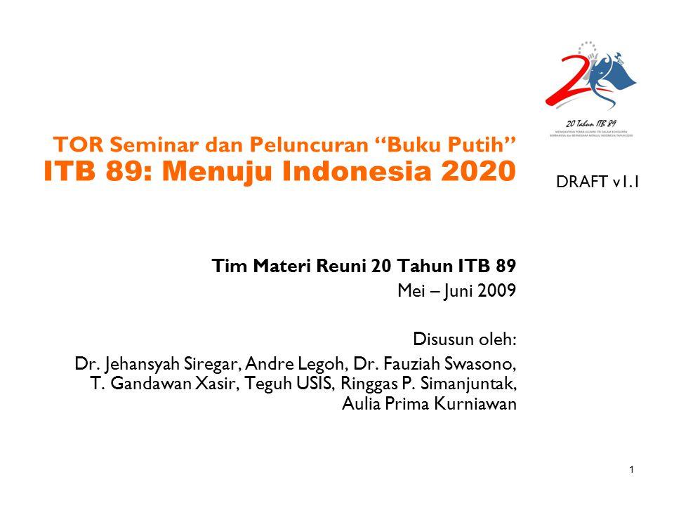 TOR Seminar dan Peluncuran Buku Putih ITB 89: Menuju Indonesia 2020