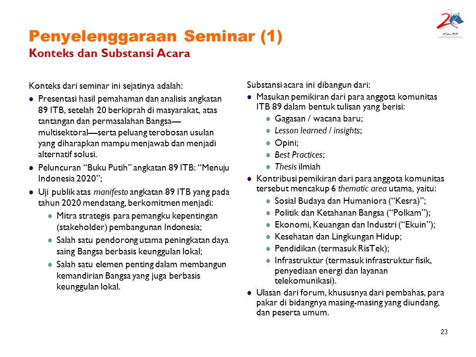 Penyelenggaraan Seminar (1) Konteks dan Substansi Acara