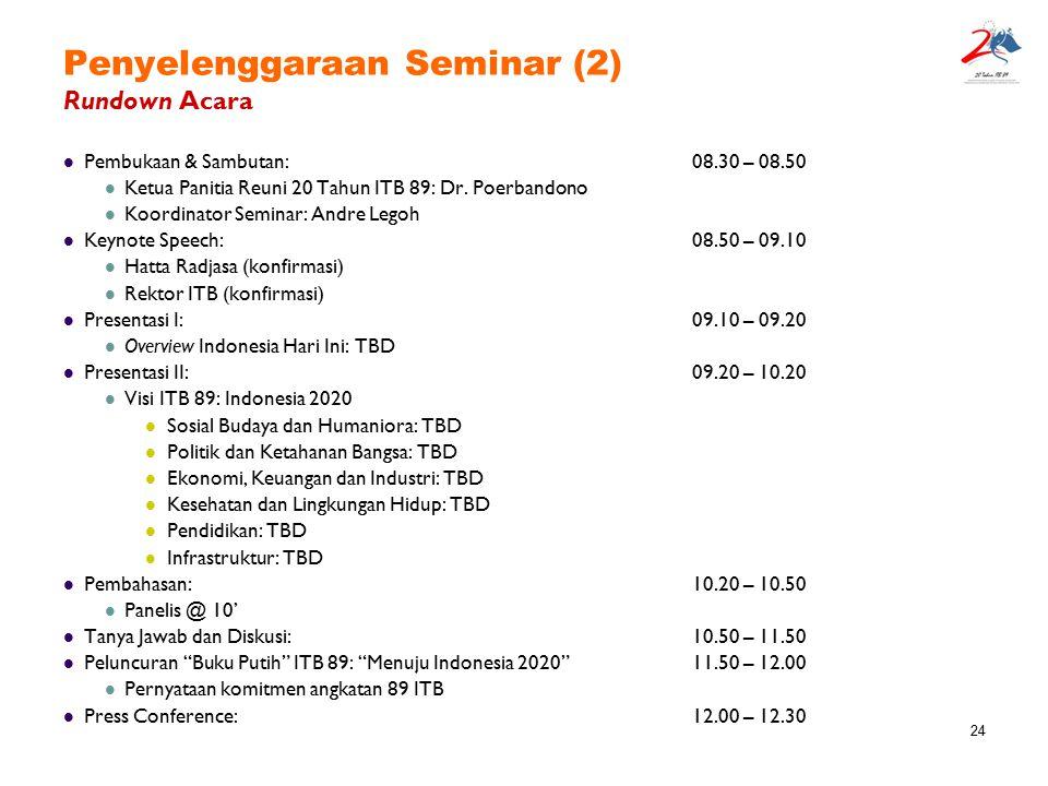 Penyelenggaraan Seminar (2) Rundown Acara