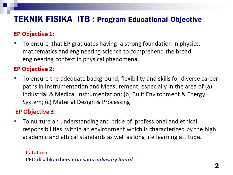 TEKNIK FISIKA ITB : Program Outcome
