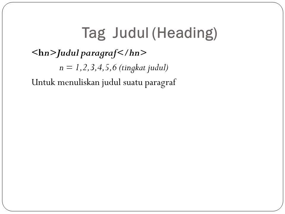 Tag Judul (Heading) <hn>Judul paragraf</hn> n = 1,2,3,4,5,6 (tingkat judul) Untuk menuliskan judul suatu paragraf