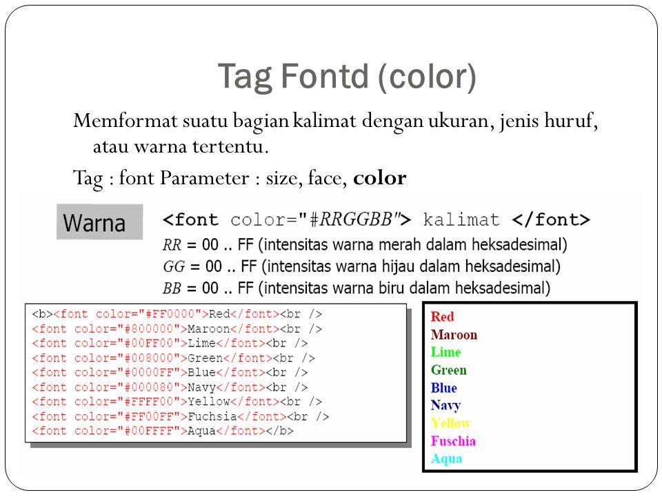 Tag Fontd (color) Memformat suatu bagian kalimat dengan ukuran, jenis huruf, atau warna tertentu.