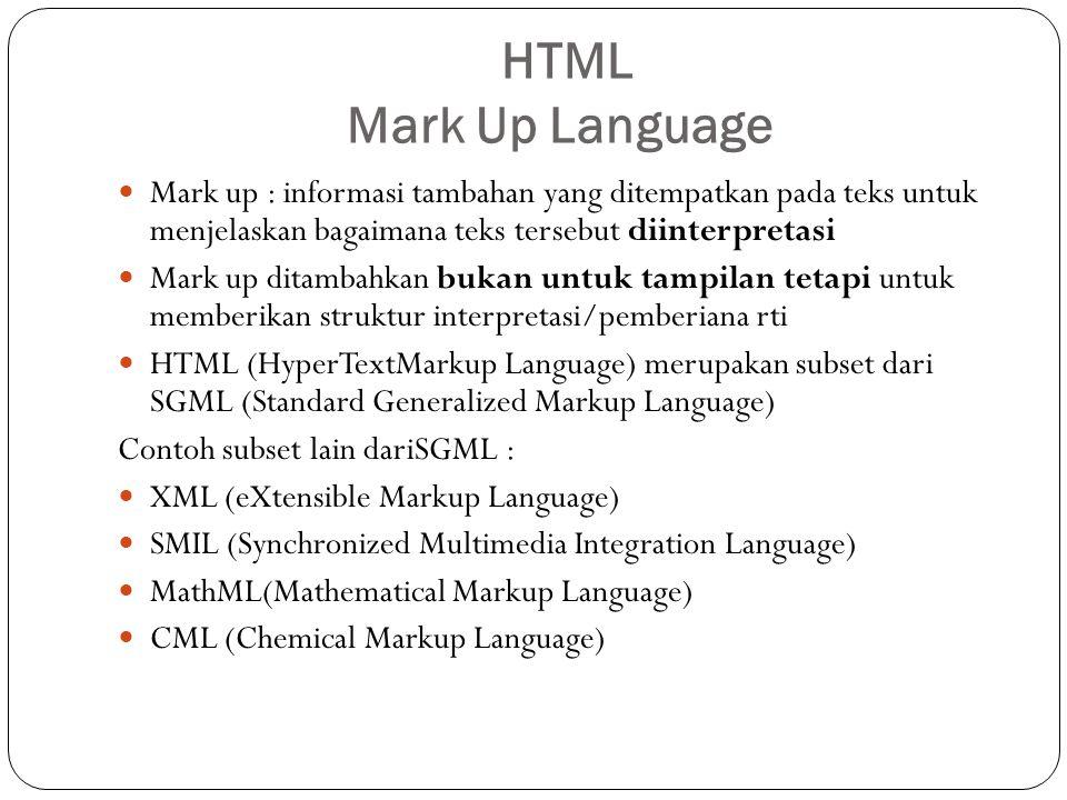 HTML Mark Up Language Mark up : informasi tambahan yang ditempatkan pada teks untuk menjelaskan bagaimana teks tersebut diinterpretasi.