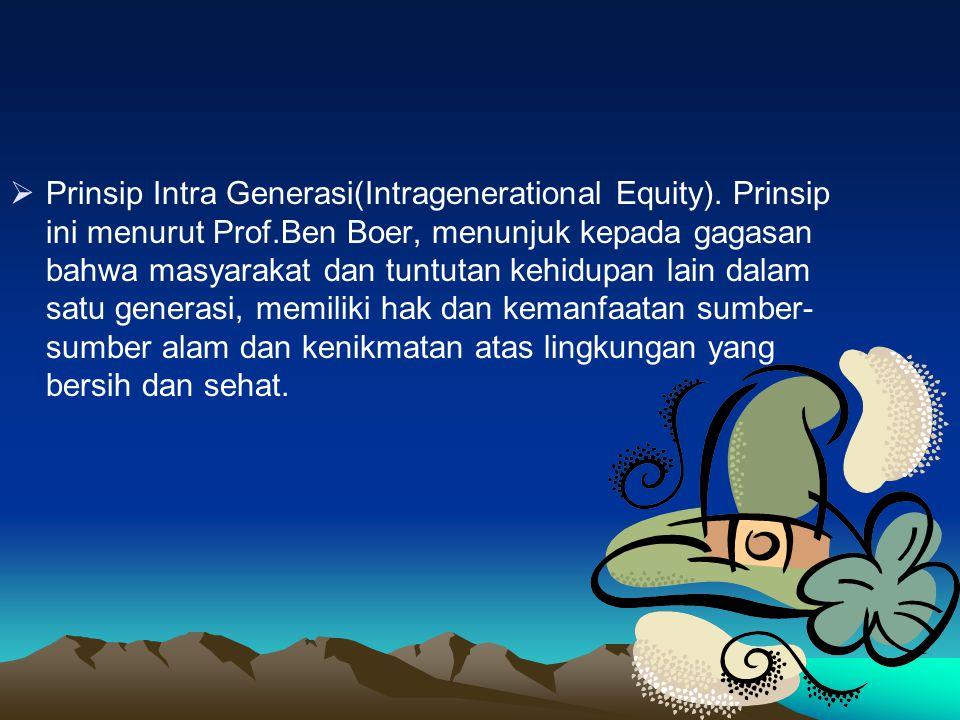 Prinsip Intra Generasi(Intragenerational Equity)