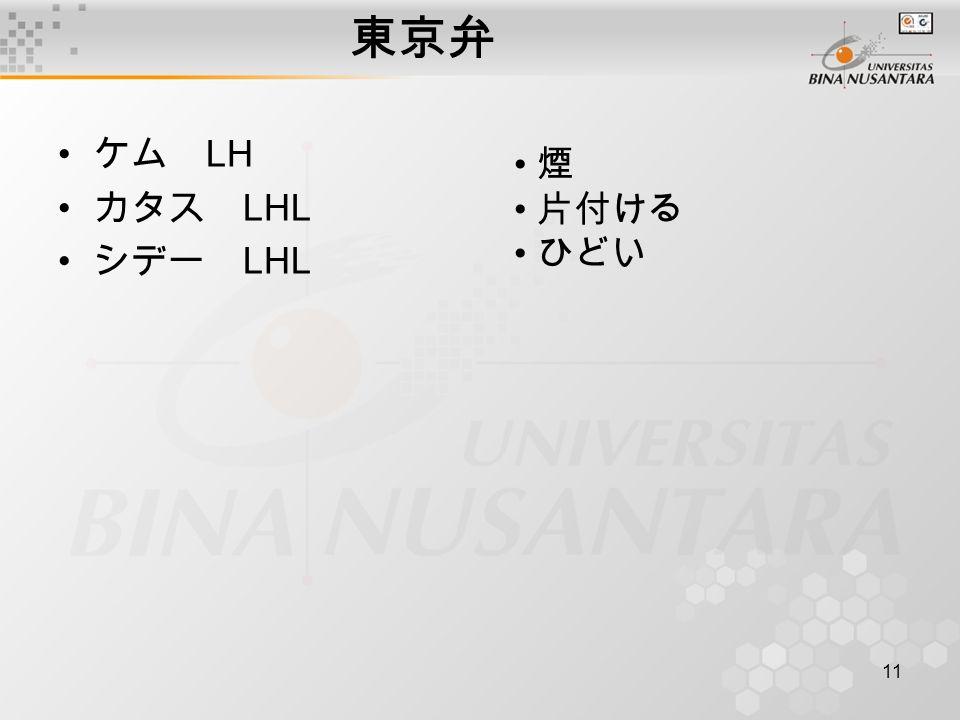 東京弁 ケム LH カタス LHL シデー LHL 煙 片付ける ひどい