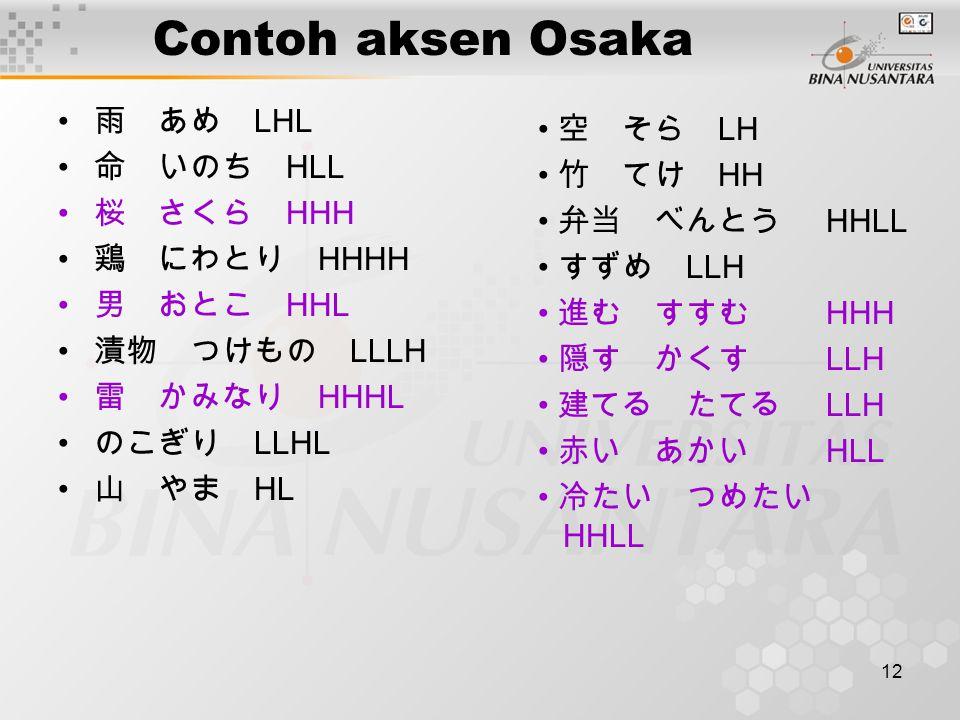 Contoh aksen Osaka 雨 あめ LHL 空 そら LH 命 いのち HLL 竹 てけ HH 桜 さくら HHH