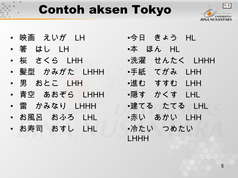 Contoh aksen Tokyo 映画 えいが LH 箸 はし LH 桜 さくら LHH 髪型 かみがた LHHH 男 おとこ LHH