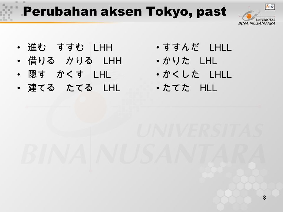 Perubahan aksen Tokyo, past