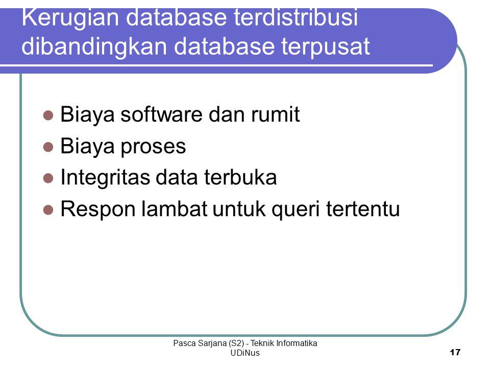 Kerugian database terdistribusi dibandingkan database terpusat