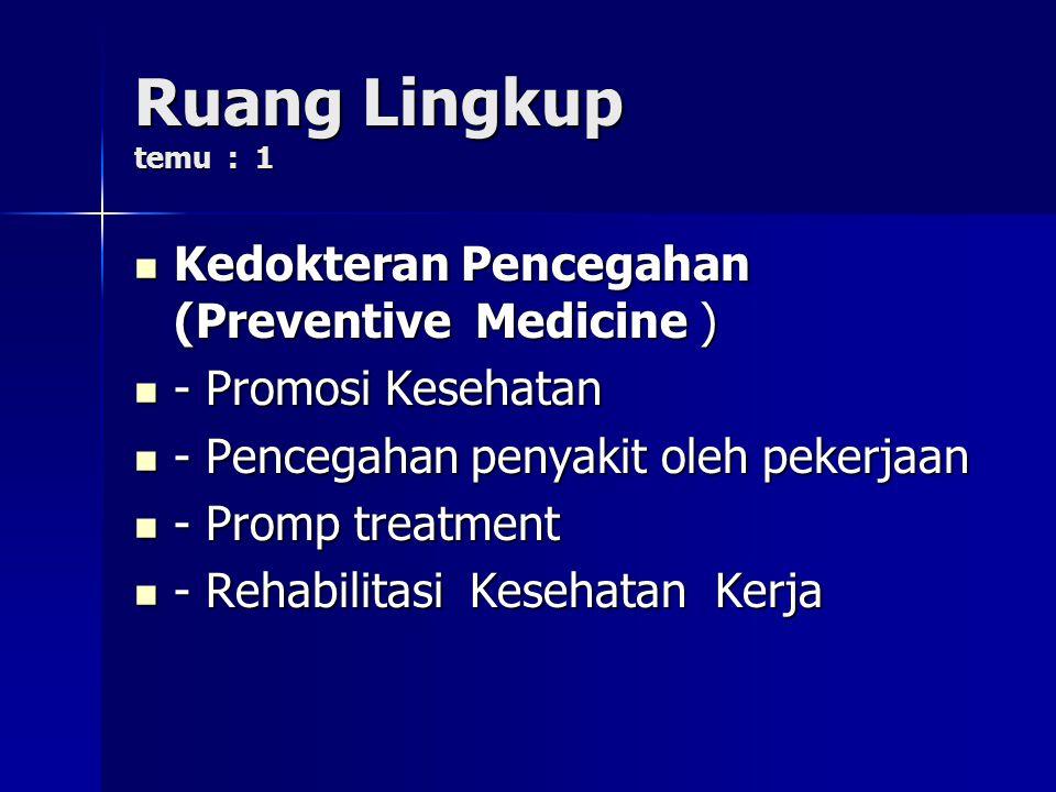 Ruang Lingkup temu : 1 Kedokteran Pencegahan (Preventive Medicine )
