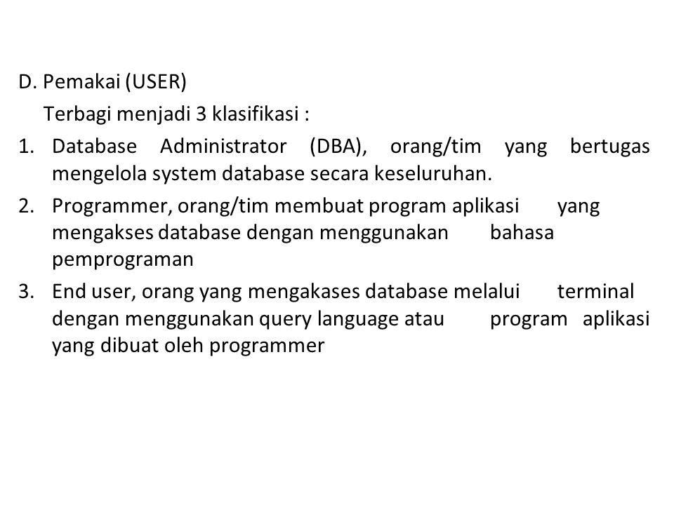 D. Pemakai (USER) Terbagi menjadi 3 klasifikasi :