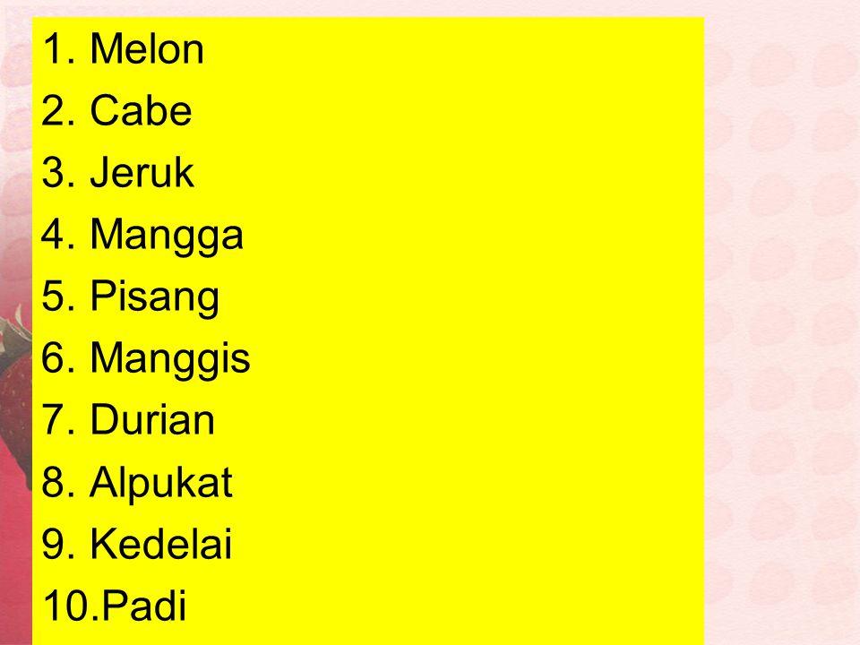 Melon Cabe Jeruk Mangga Pisang Manggis Durian Alpukat Kedelai Padi