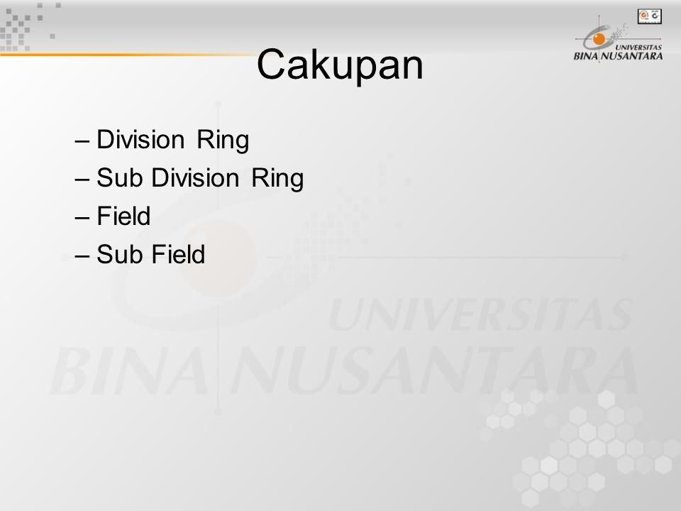 Cakupan Division Ring Sub Division Ring Field Sub Field