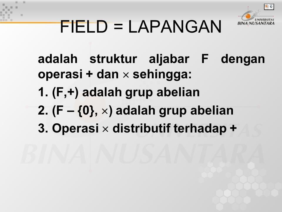 FIELD = LAPANGAN adalah struktur aljabar F dengan operasi + dan  sehingga: (F,+) adalah grup abelian.