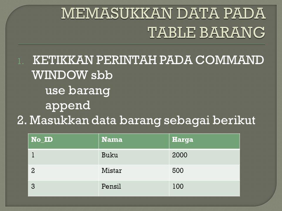 MEMASUKKAN DATA PADA TABLE BARANG