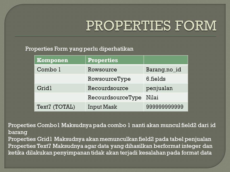 PROPERTIES FORM Properties Form yang perlu diperhatikan Komponen