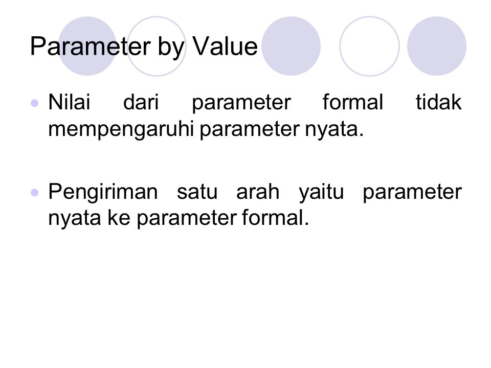 Parameter by Value Nilai dari parameter formal tidak mempengaruhi parameter nyata.