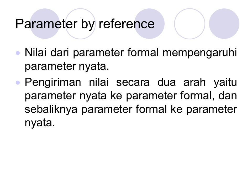 Parameter by reference