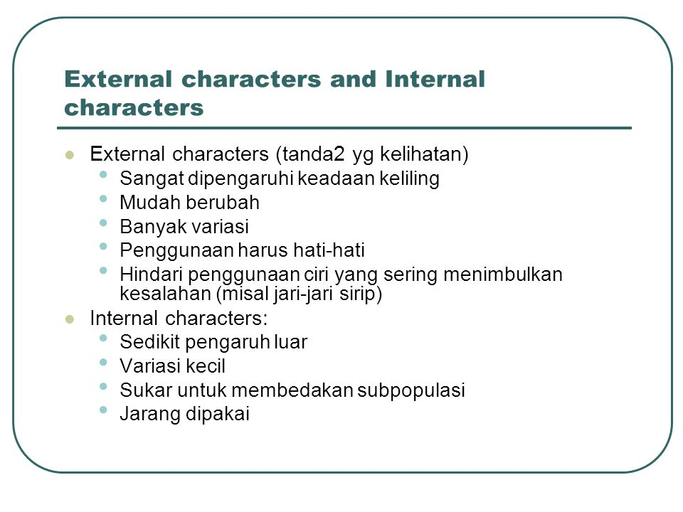 External characters and Internal characters