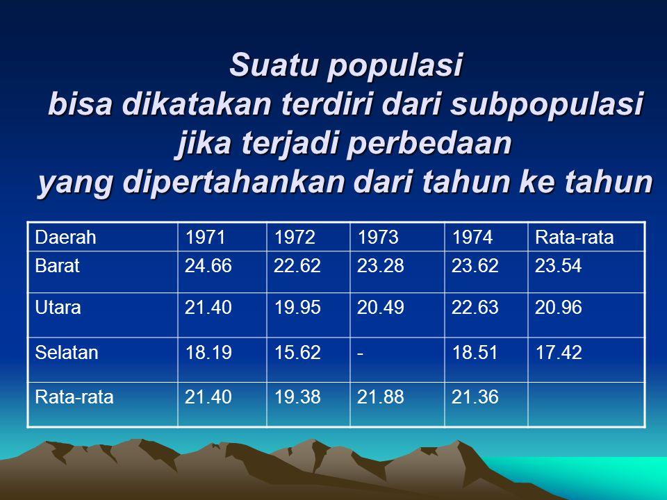 Suatu populasi bisa dikatakan terdiri dari subpopulasi jika terjadi perbedaan yang dipertahankan dari tahun ke tahun