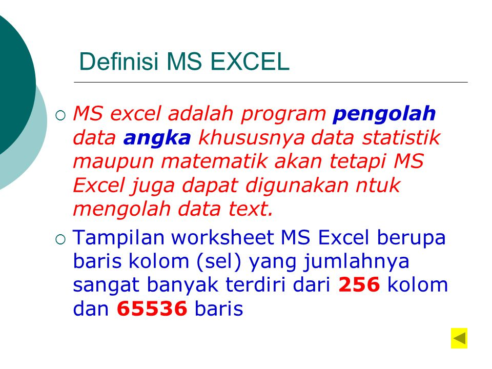 Definisi MS EXCEL