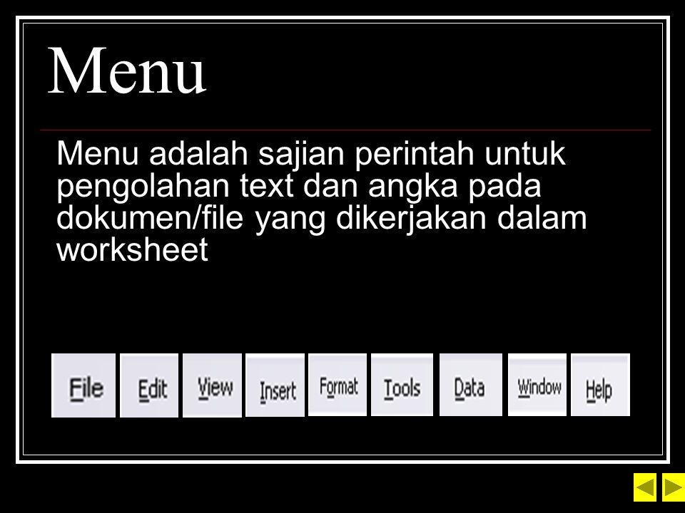 Menu Menu adalah sajian perintah untuk pengolahan text dan angka pada dokumen/file yang dikerjakan dalam worksheet.