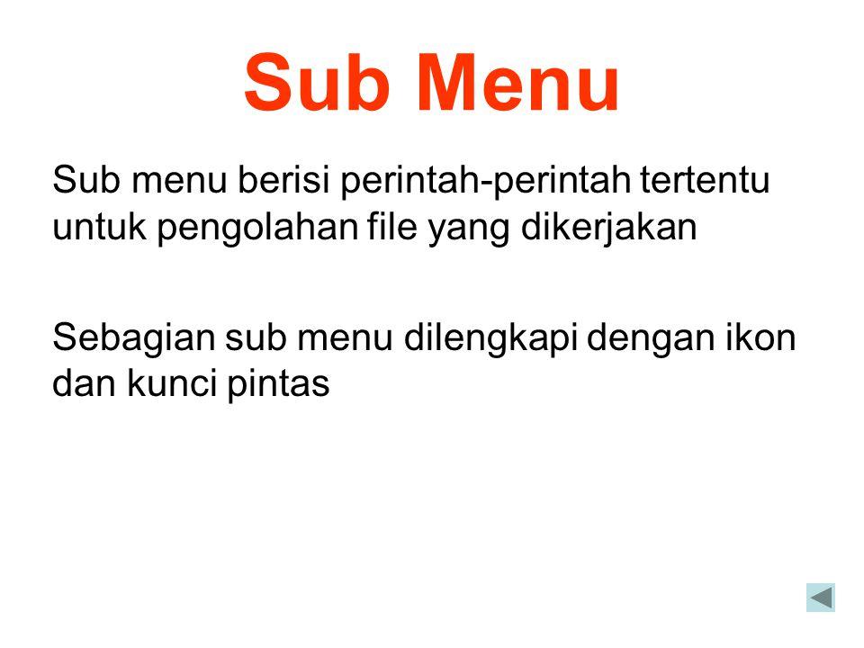 Sub Menu Sub menu berisi perintah-perintah tertentu untuk pengolahan file yang dikerjakan.