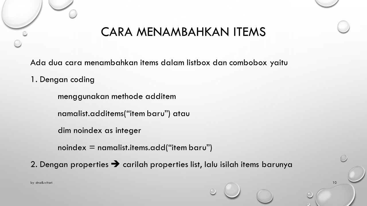 Cara menambahkan items