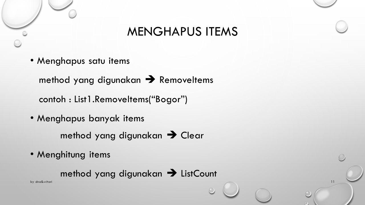 Menghapus items Menghapus satu items